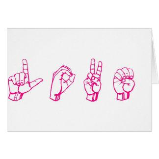 Amor no rosa do linguagem gestual cartão comemorativo