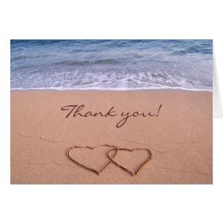 Amor nos cartões de agradecimentos da praia