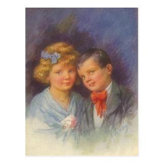 Amor novo, menina do vintage & retrato dos namorad cartao postal
