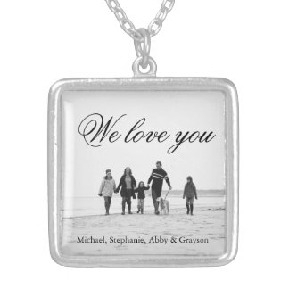 Love for Mom Family Photo Necklace