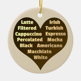 Amor para o ornamento cerâmico do café