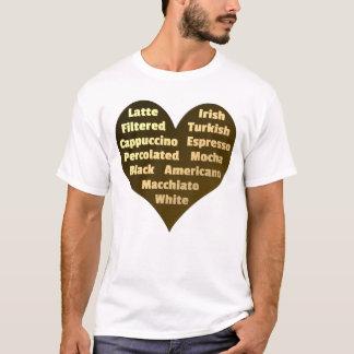 Amor para o t-shirt dos homens do café camiseta