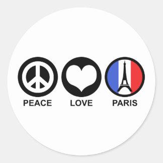 Amor Paris da paz Adesivo Redondo