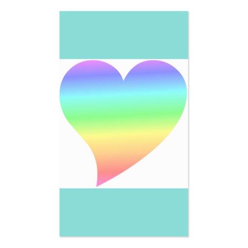 Amor Pastel do arco-íris do coração retro brilhant Modelos Cartões De Visitas