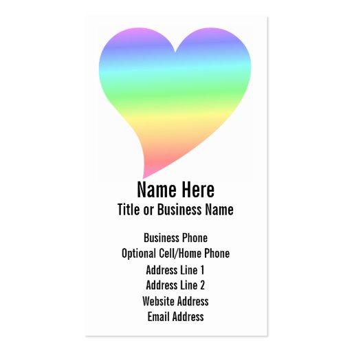 Amor Pastel do arco-íris do coração retro brilhant Cartao De Visita
