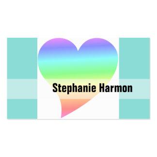 Amor Pastel do arco-íris do coração retro brilhant Modelo Cartoes De Visita