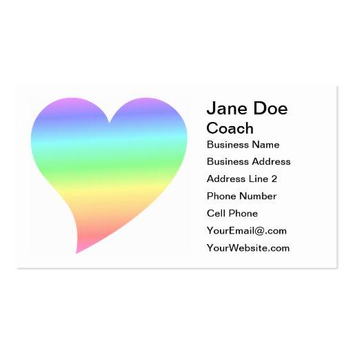 Amor Pastel do arco-íris do coração retro brilhant Modelo Cartoes De Visitas