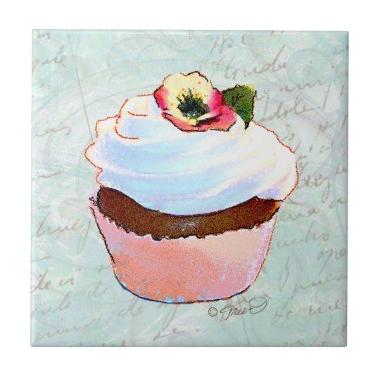 Amor perfeito de w do cupcake do chocolate azulejo quadrado pequeno