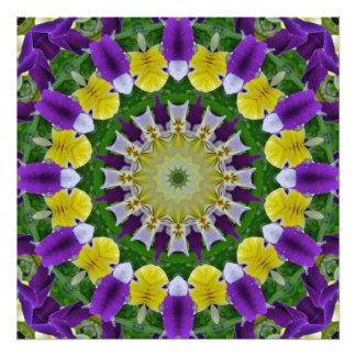 Amor perfeito, natureza dos Pansies, Flor-Mandala Impressão De Foto