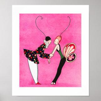 Amor. Poster da arte do art deco