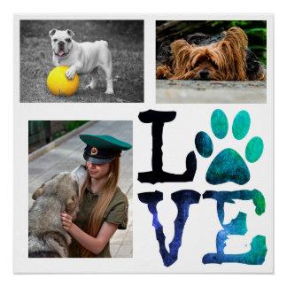 AMOR, poster personalizado impressão do cão da