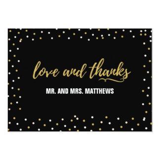 Amor preto e cartões de agradecimentos do