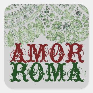 Amor Roma com laço verde Adesivo Quadrado
