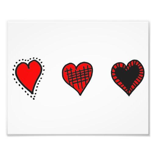 Amor, romance, corações - preto vermelho impressão de fotos