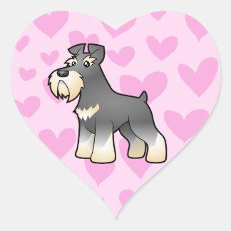 Amor Schnauzer gigante/padrão/diminuto Adesivo Coração