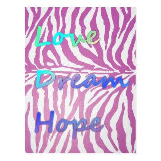 Amor, sonho, cartão do impressão da zebra da