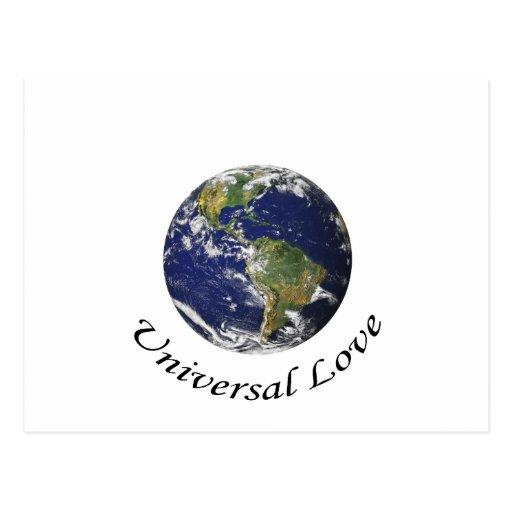Amor universal na terra cartao postal