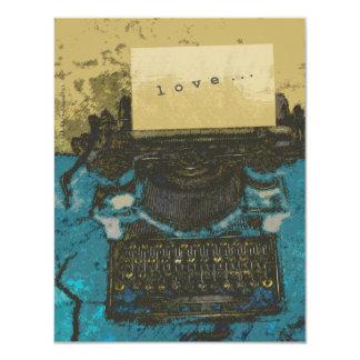 Amor velho da máquina de escrever… convite 10.79 x 13.97cm