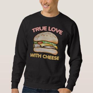 Amor verdadeiro com amor do cheeseburger do queijo moletom