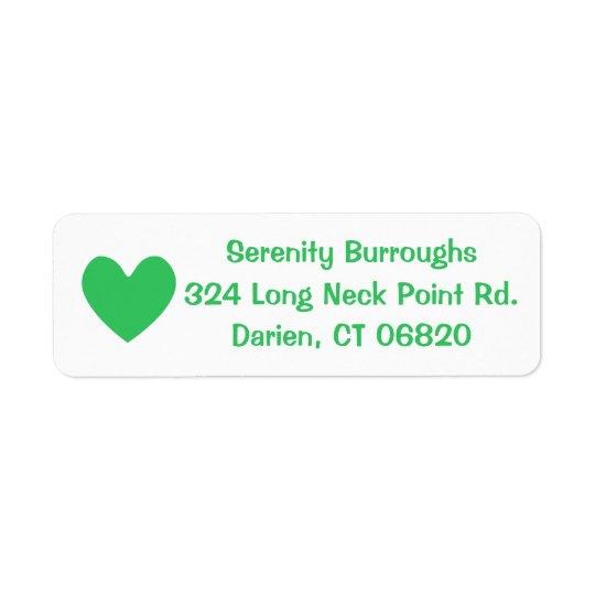Amor verde & branco do coração - casamento, chá de etiqueta endereço de retorno
