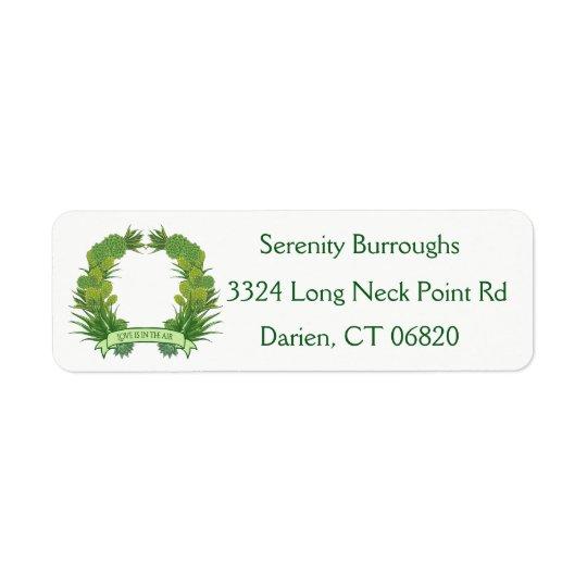 Amor verde da grinalda do cacto do Succulent do Etiqueta Endereço De Retorno