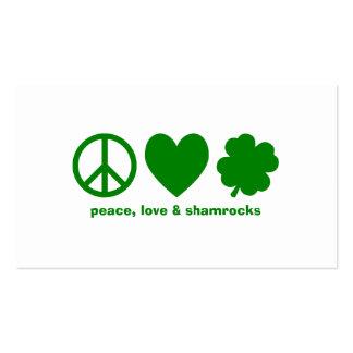 Amor verde trevos da paz cartão de visita