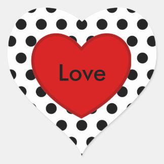 Amor vermelho branco da etiqueta do preto das adesivo coração