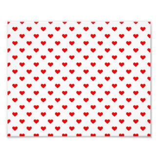 Amor vermelho do teste padrão do coração impressão de foto