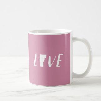 Amor Vermont - branco na caneca cor-de-rosa do