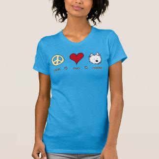 Amor Westies da paz Camiseta