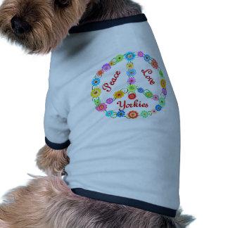 Amor Yorkies da paz Camiseta Para Caes
