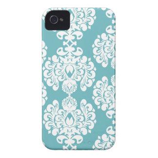 Amora-preta à moda do teste padrão do damasco azul capinhas iPhone 4