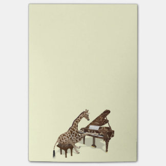 Amores doces do girafa para jogar o piano post-it note