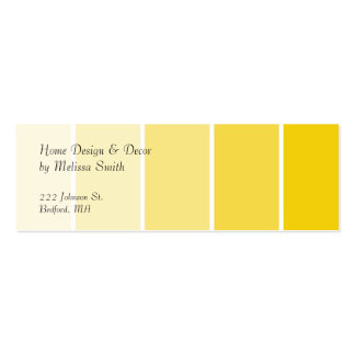 Amostras amarelas ensolaradas da pintura cartoes de visitas