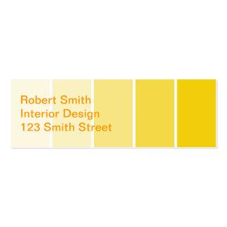 Amostras amarelas ensolaradas da pintura cartoes de visita