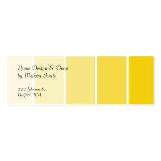 Amostras amarelas ensolaradas da pintura cartão de visita skinny