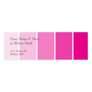 Amostras cor-de-rosa brilhantes da pintura cartão de visita skinny