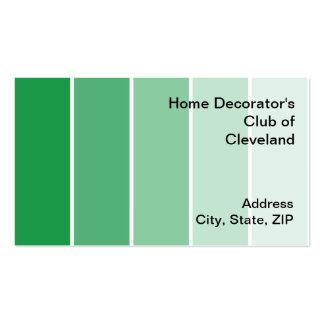 Amostras verde-clara da pintura cartões de visitas