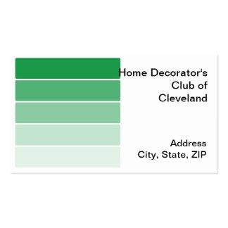 Amostras verde-clara da pintura cartoes de visita