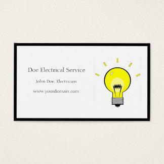 Ampola do contratante elétrico do eletricista cartão de visitas