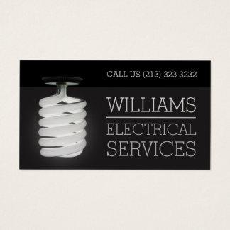 Ampola dos serviços elétricos do eletricista cartão de visitas