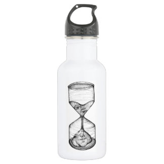 Ampulheta ereta da garrafa de água que drena a