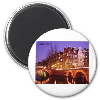 Amsterdão--Cidade das luzes [kan.k]. Ímã Redondo 5.08cm