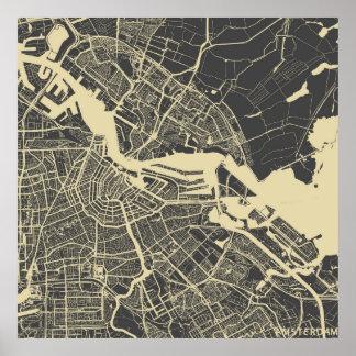 Amsterdão map pôster