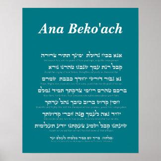 Ana Beko'ach - nome de letra 42 do deus Poster