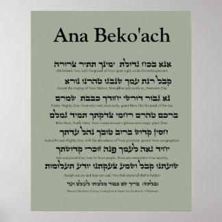 Ana Beko'ach - nome de letra 42 do deus Pôster
