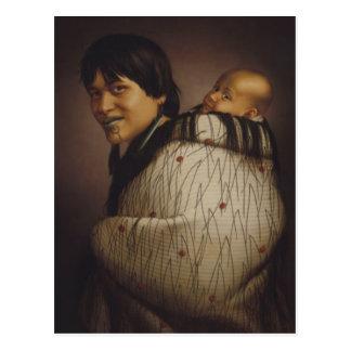 """""""Ana Rupene e criança"""" - G. Lindauer Cartão"""