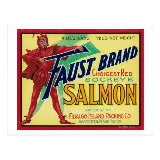Anacortes, etiqueta Salmon do exemplo de Cartão Postal
