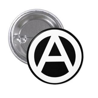 Anarchy símbolo Clássico (pano de fundo preto) Bóton Redondo 2.54cm