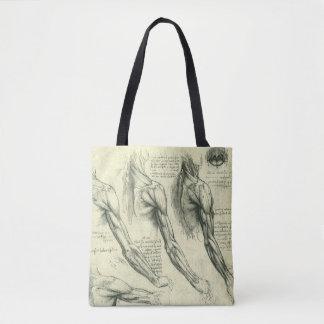 Anatomia do braço e do ombro por Leonardo da Vinci Bolsas Tote